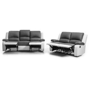 RELAX Ensemble canapés de relaxation droit 3 + 2 places - Simili gris et blanc - Contemporain - L 190 et 144 x P 93 cm