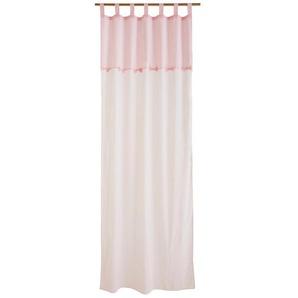 Rideau en coton blanc et rose à lunité 110x250