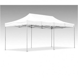 Tente pliante V3S5-Pro PVC blanc - 3 x 6m, Façade de droite 3m Avec porte, Façade arrière 6m Pleine, Façade avant 6m Pleine, Façade de gauche 3m Avec jupe US - VITABRI