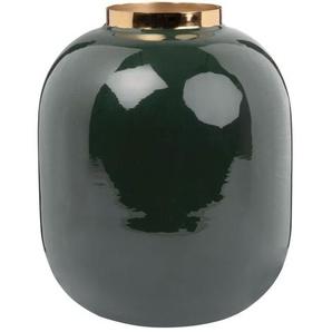 Vase boule en métal vert et doré H20