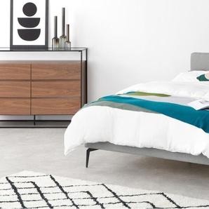 Kida, lit double (140 x 200) avec sommier, tissé gris foncé