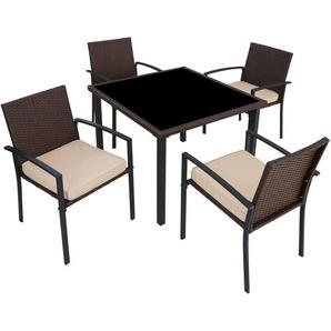 Salon de Jardin 4 Chaises et 1 Table en Résine Tressée Marron - TECTAKE