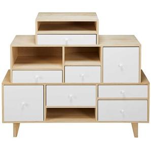 Cabinet déstructuré 8 tiroirs en paulownia blanc Spring