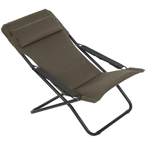 Lafuma Chaise longue, Pliable et réglable, Transabed, Air Comfort, Couleur: Taupe, LFM2459-7057
