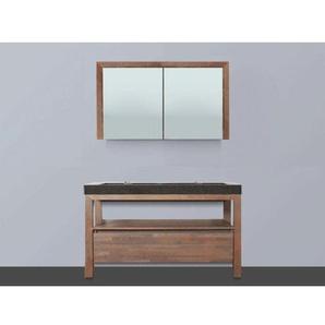 Saniclass Natural Wood Meuble avec armoire miroir 120cm Grey Oak avec vasque pierre naturelle Black Spirit 2 trous pour robinetterie