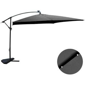 Solenzara Bulle gris : parasol LED déporté 3x3m - CONCEPT-USINE