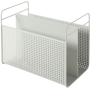 Porte-revues en métal perforé gris clair