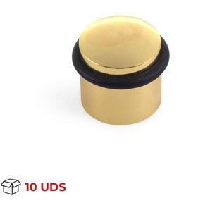 Boîte avec 10 Butée de porte à visser REI, en laiton, finition or et forme cylindrique