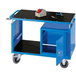 EUROKRAFT Chariot de montage réglables en hauteur - 1 tablette, 1 armoire avec tablette - bleu clair