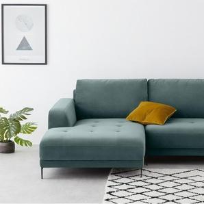 Luciano, canapé d'angle avec méridienne à gauche, velours vert bleuté