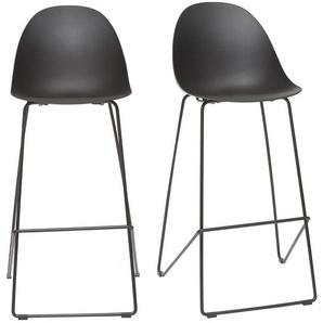 Tabourets de bar design noirs 77 cm (lot de 2) CONCHA - MILIBOO