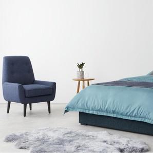 Finlay, lit king size (160 x 200) avec sommier et rangement, tissé bleu denim