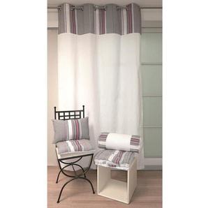 SOLEIL DOCRE Rideau à Œillets Stripes 100% coton 140x240 cm gris
