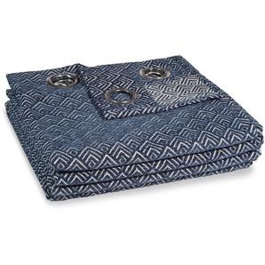 Rideau à illets bleu à lunité 140x250