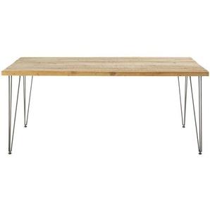 Table à manger indus 8 personnes en pin recyclé et métal noir L180 Dausmenil