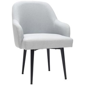 Fauteuil design en tissu gris clair et pieds métal noir AMON