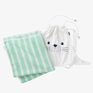 Serviette de bain à franges + sac à dos Phoque bleu rayé