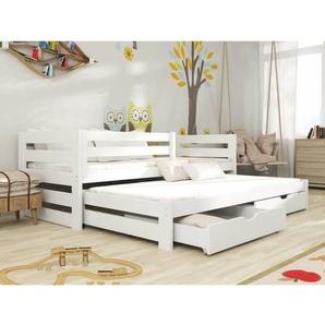 Lit gigogne Cuba pour enfant personnalisable - Blanc - 80 cm x 180 cm