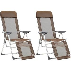 Chaises de camping pliables 2pcs et repose-pied Taupe Aluminium - VIDAXL