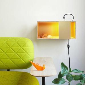 LUX BOX-Lampe à poser/Applique murale Peuplier/Métal doré L40cm Bois DesignerBox - designé par A+A Cooren