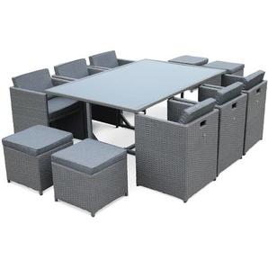 Salon de jardin Vasto Gris table en résine tressée 6 à 10 places, fauteuils encastrables - ALICES GARDEN