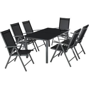 Salon de Jardin avec 6 Chaises Pliantes et 1 Table en Verre et en Aluminium Gris Noir - TECTAKE