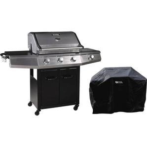 Barbecue Gaz avec LED Bingo 4 - 4 brûleurs dont 1 latéral - 14kW + Housse protection - Noir - HABITAT ET JARDIN