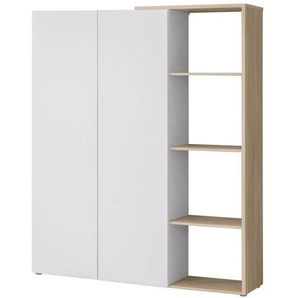 FINLANDEK Bibliothèque TOOTING - Contemporain - Blanc mat et décor chêne sonoma structuré 3D - L 150,70 cm