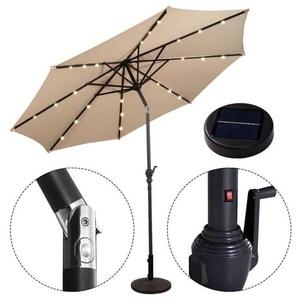 Parasol de Jardin Inclinable 3M avec Ãclairage 24 LED Lampe Solaire Parasol Déporté en Métal - Beige - COSTWAY