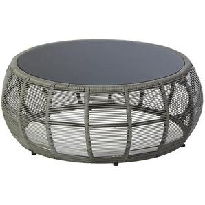 Table basse de jardin ronde en résine tressée et verre gris Tamarin