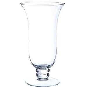 INNA Glas - Photophore évasé Darcy sur Pied, Verre Transparent, 25 cm, Ø 13,5 cm - Vase Conique en Verre/Porte-Bougie