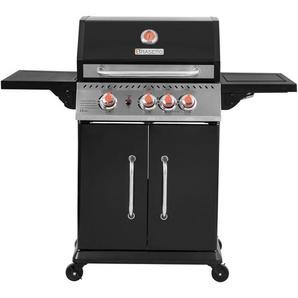 BRASERO - Barbecue Perth Noir à gaz 3 Feux + 1 brûleur latéral - 11,5 kW