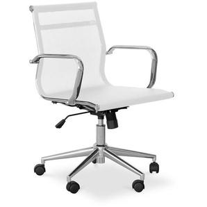 Chaise de bureau T17 - Maille et métal - Roues Blanc - PRIVATEFLOOR