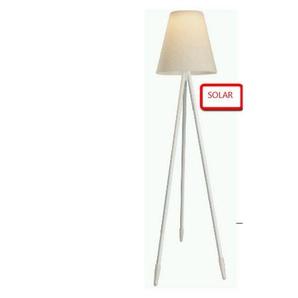 Lampadaire solaire blanc GUARDA - L 60 x l 60 x H 150 - Blanc - MA MAISON MES TENDANCES