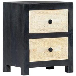 Table de nuit chevet commode armoire meuble chambre sculptée à la main gris 40x30x50 cm manguier - Gris - HELLOSHOP26