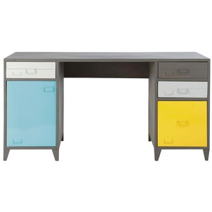 Bureau indus 1 porte 4 tiroirs en métal gris Espace