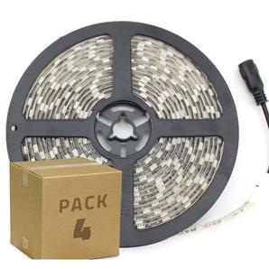 PACK Ruban LED 12V DC SMD5050 60LED/m 5m IP65 (4 Un) Blanc Chaud 2800K - 3200K - Blanc Chaud 2800K - 3200K  - LEDKIA
