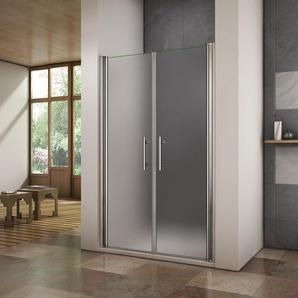 Porte de douche pivotante 80x195cm verre anticalcaire et verre dépoli cabine de douche en niche - AICA SANITAIRE