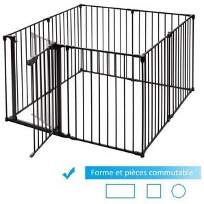 Barrière de Sécurité Enfant Bébé Grille de Protection Cheminée Pare-Feu de Cheminée 500x74,5cm avec 8 Pans Noir - COSTWAY