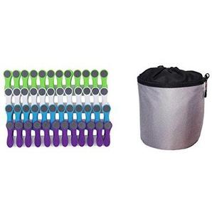 Pinces à linge avec pince en matière douce et adhérente + sac à pinces à linge - 1 sac gris - 48 pinces (12 blanches/12 bleues/12 vertes/12 violettes)