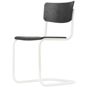 Thonet S 43 Classics in Colour - Chaise cantilever - noir/hêtre teinté/support blanc/patins de protection incl.