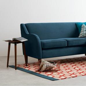 Helena, grand canapé d'angle, velours bleu canard