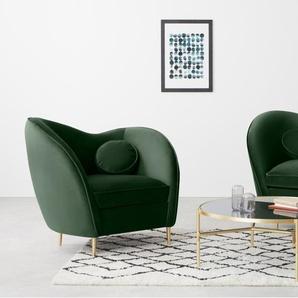 Kooper, fauteuil, velours vert sapin et pieds en laiton