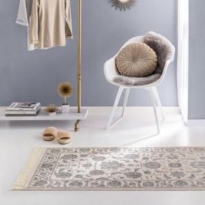 Tapis poil ras Nain Beige/Bleu 80x300 cm - Tapis poil court design moderne pour salon