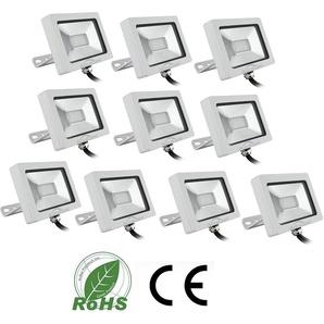 10×Auralum 20W Projecteur à LED Ultraléger pour Éclairage Extérieur et Intérieur Spot IP65 Haute Luminosité 1300LM SMD 3030 Blanc Chaud 3000K