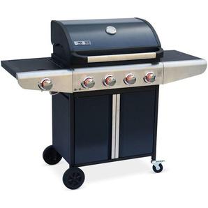 Barbecue gaz Bazin 4 Anthracite 4 brûleurs + 1 feu latéral avec tablettes latérales et thermomètre - ALICES GARDEN