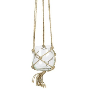 Suspension Boule en verre - Avec corde en chanvre - Ø 12 cm - Blanc transparent