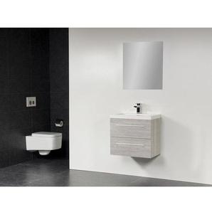 Saniclass XXS Meuble salle de bain avec miroir 80x38cm polybéton 1 trou pour robinetterie Beach SW18163