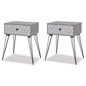Table de nuit chevet commode armoire meuble chambre avec tiroir 2 pcs gris - Gris - HELLOSHOP26