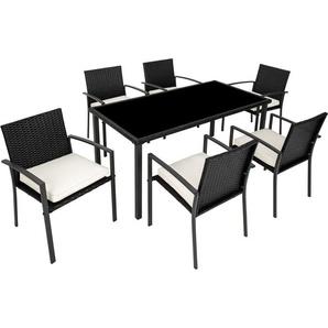 Salon de Jardin 6 Chaises et 1 Table en Résine Tressée Structure Acier Noir - TECTAKE